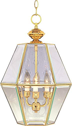(Maxim Lighting 90350 Bound Glass Entry Foyer Pendant Fixture, Polished Brass Finish, 13 by 20.5-Inch)