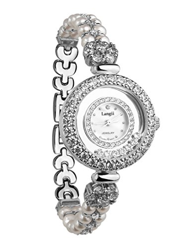 Langii Women's Wrist Watch Silver Color Cultured China Freshwater Pearl Bracelet Jewelry Watches Strap Lgrh5308bzz from Langii
