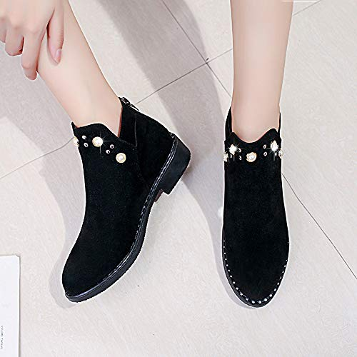 For Flat Boots Boots Vintage Boots Boot HOT Martain Pearl Zipper Shoes SALE Black Suede Farjing Ankle Boot Women Sdq7xWwrAd