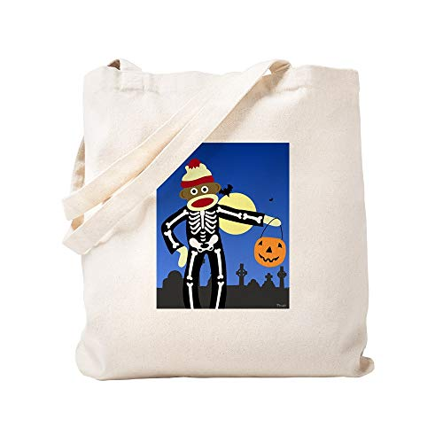 CafePress Sock Monkey Halloween Skeleton Natural Canvas Tote Bag, Cloth Shopping -