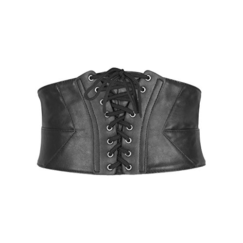BlackButterfly Wide Corset Waspie Elastic Waist Faux Leather Belt (Black, US 2-4)