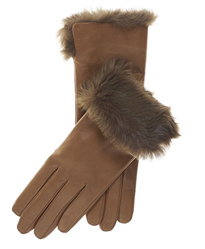 - Fratelli Orsini Women's Italian Rabbit Fur Cuff Winter Leather Gloves Size 7 1/2 Color Camel