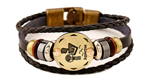 vivir La Vida Multi-layer 12 Zodiac Signs Constellation Astrology Leather Bracelet for Women and Men (Steel Aquarius Stainless Place)