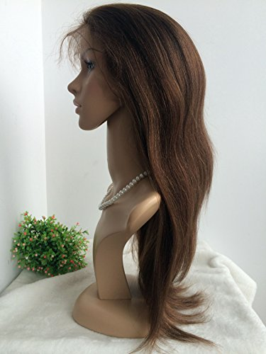 100% HUMAN HAIR,CHINESE VIRGIN HAIR,COARSE YAKI TEXTURE,GLUELESS FULL LACE WIG-BW0056--with bleached knots,baby hair all round by April Silk Top Wigs (Image #1)