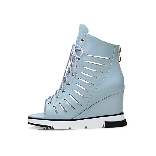 AmoonyFashion Womens Soft Material Peep Toe High-Heels Zipper Solid Sandals with Metal Blue fie02E4