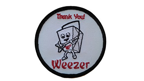 Licensed WEEZER Iron On Patch Fabric Applique Motif Rock Band Punk Metal dia. 3 inches (7.5 cm)-Collectible Decal 2002