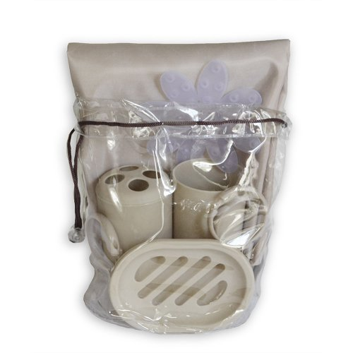 Bath in a Bag Accessory Set. 1 Fabric Shower Curtain Liner, 12 Plastic Rings, Toothbrush Holder, Soap Dish, Tumbler and 6 Bath Mat Appliques (Taupe) - Fabric Appliques 6 Piece