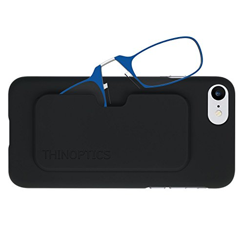 ThinOptics Reading Glasses + iPhone 8 or iPhone 7 Case | Blue Frames, 1.00 Strength