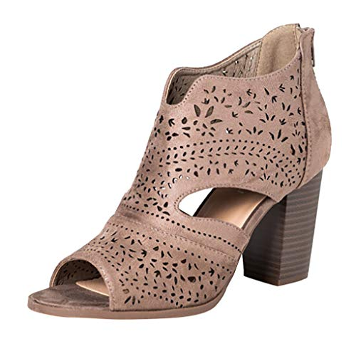 Women Peep Toe Laser Cutout Ankle Booties Stacked Chunky Heel Back Zip Open Toe Heeled Sandals Shoes by Lowprofile Brown