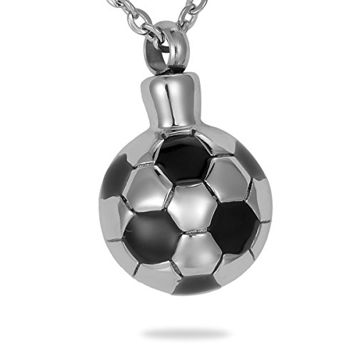 HooAMI Silver Black Soccer Ball Cremation Jewelry Ashes Pendant Keepsake Memorial Urn Necklace