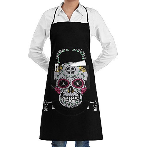 - Sugar Skull Adjustable Bib Apron For Women Men Chef - Restaurant Home Kitchen Apron Bib With 2 Pockets For Cooking, Grill And Baking, Crafting, Gardening, BBQ