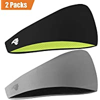 COOLOO Mens Headband, 2 Pack Guys Sweatband Sports...
