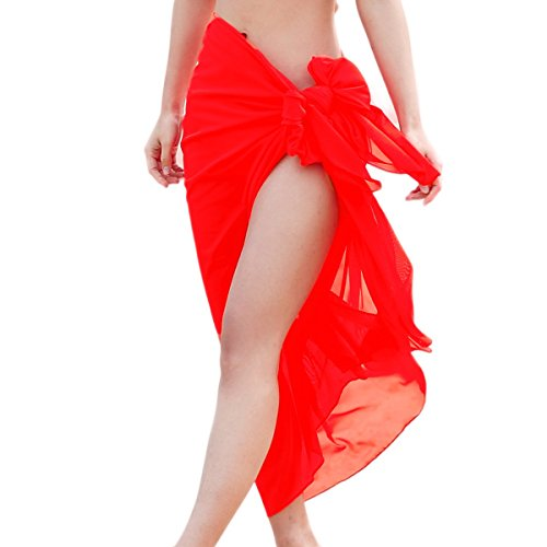Qiaoer Womens Solid Pareo Scarf Swimwear Cover Up Beach Sarong Swimsuit Wrap (Red)