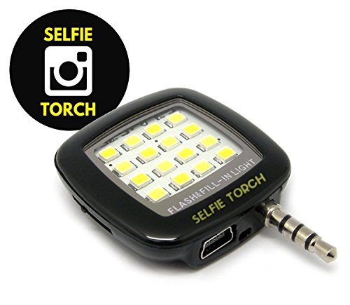 Selfie Light Torch: Cell Phone Flash LED Mini Spotlight Ring Fill-In Lighting Pocket Bulb Camera Lamp For Best Photos & Video In Dark For iPhone 6 plus 6s 5s 4s iPad Air Samsung Galaxy S6 Edge S5 Note