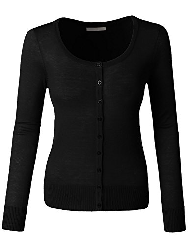 LE3NO Womens Lightweight Round Neck Fine Knit Cardigan Sweater with Stretch, Black, Small