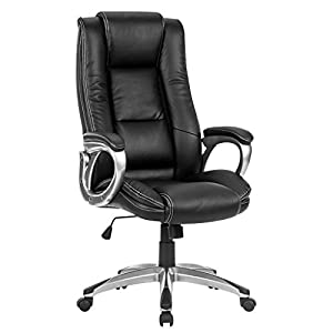 leather office chair modern. LANGRIA High-Back Executive Office Chair Black Faux Leather Computer Chair, Modern And Ergonomic Design, Well-Padded Armrests, Adjustable Seat Height,