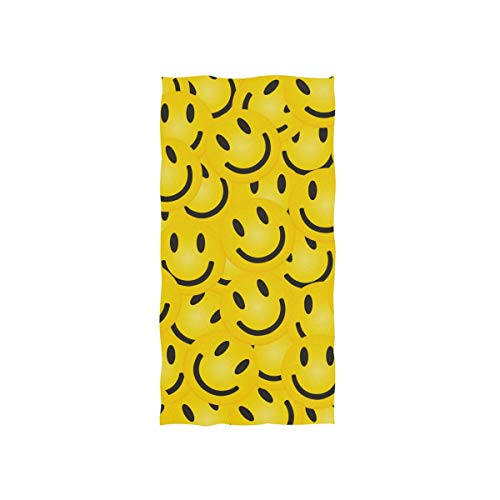 Naanle Smile Face Pattern Yellow Smiley Emoji Icon Soft Bath Towel Absorbent Hand Towels Multipurpose for Bathroom Hotel Gym and Spa 30