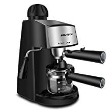 Espresso Machine, SOWTECH 800W 240ml (4 Cup) Automatic Steam Espresso Maker Stainless Steel Cappuccino Machine 3.5 Bar Easy Control Single Knob with Frothing Function and Removable Drip Tray - Black
