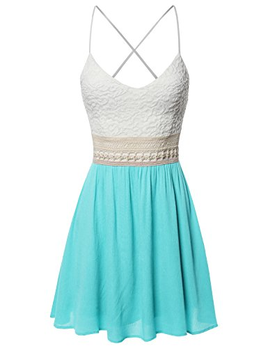 Sleeveless Spaghetti Strap Lace Detail Baby Doll Dress - Made in USA Mint Size M ()