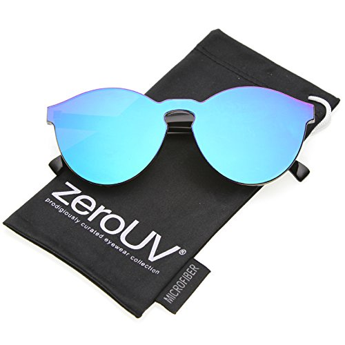 Lens Rimless Sunglasses Shades - zeroUV - One Piece PC Lens Rimless Ultra-Bold Colored Mirror Mono Block Sunglasses 60mm (Green Mirror)