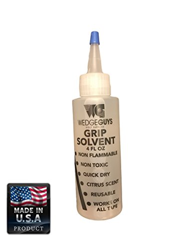 Professional Golf Grip Solvent for Regripping Golf Clubs by Wedge Guys – 4 Ounce Solution for Easy Regripping and Golf Club Repair, Use with Grip Tape to Regrip Wood Hybrid Iron Wedge Putter
