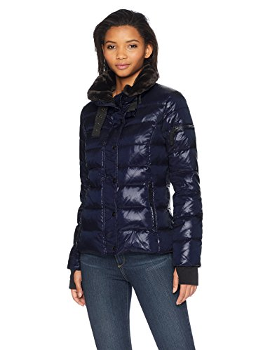 S13 Women's Mercer Hip Length Down Puffer with Faux Fur Trim, Navy, Small
