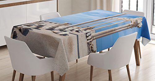 Ambesonne Home Decor Tablecloth, Ancient Greek Temple with Clouds Greece Mythical Gods Ruins Europian Heritage Decorative, Rectangular Table Cover for Dining Room Kitchen, 52x70 Inches, Cream Blue