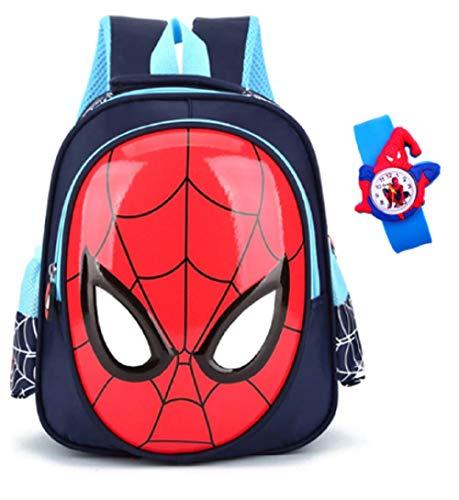 JarilnMo kids 3D spiderman boys backpack 3-6 yrs old waterproof school bag with free spiderman kids watch (red)