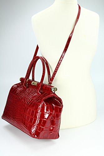 Belli - Bolso de tela de cuero para mujer rojo Bordeaux