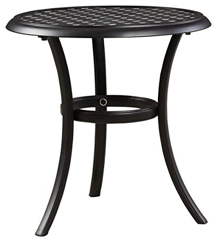 Dark Cast (Ashley Furniture Signature Design - Tanglevale Round End Table - Outdoor - Rust Free Cast Aluminum - Dark Metal)