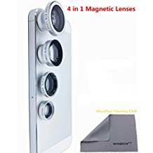 WONBSDOM 4 in 1 Universal Magnetic Detacheable Fish Eye Lens+Macro+Wide Angle+Telephoto Lens(Silver)with Microfiber Cleaning Cloth for iPhone 4S 5 5S 5C 6 itouch Samsung Galaxy S4/S5/Note 2/3/4 Blackberry HTC Sony Nokia LG Motorola,etc