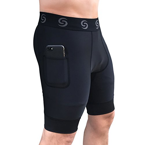 Men's Underwear Compression Shorts - Base Layer Tights for Running, Crossfit, Weightlifting Training Shorts with Side Pockets - Pants Elastic No With Baseball