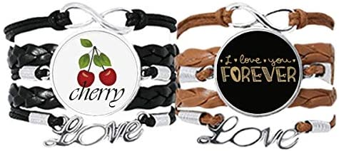 DIYthinker Love You Forever Gold Quote Style Bracelet Hand Strap Leather Rope Cherry Love Wristband Double Set