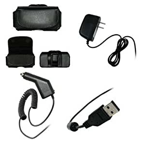 Executive Black Horizontal Leather Side Case Pouch with Belt Clip and Belt Loops + Home Travel Wall Charger + Rapid Car Charger + USB Data Charge Sync Cable for Samsung Trill R520