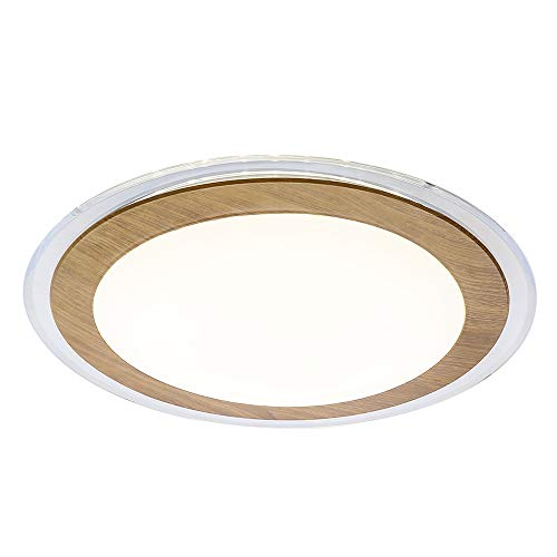 AUDIAN Ceiling Lights Flush Mount Ceiling Lights Oak Effect Ring Chandelier Acrylic Shade 13.4Inch Ceiling Lamp Fixture Dimmable LED Daylight White Bedroom Children Room Lighting 5 Years Warranty (Oak Lamp Ceiling)