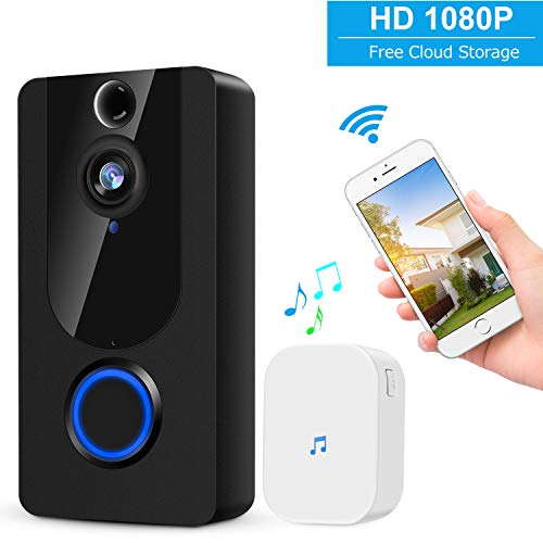 Wireless Video Doorbell,1080P Smart Home Security System with Real Time Push Alerts Night Vision Weather Resistant Free Cloud Storage Visual Recording Security Door Bell(Batteries Included)