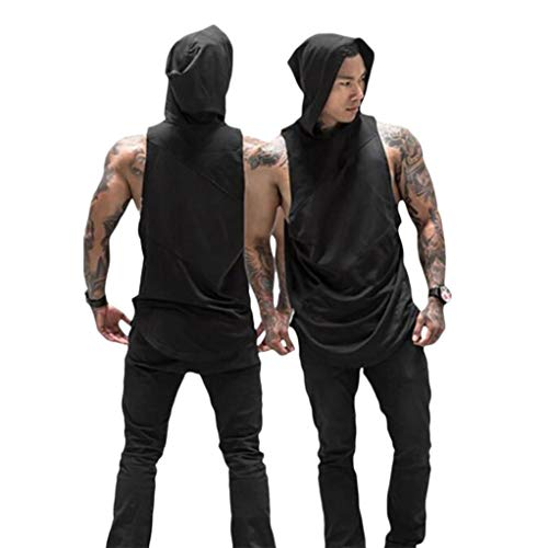 Men's Gyms Vest Tank,Fitness Muscle Mesh Hoodie Sleeveless Singlet T-shirt Top