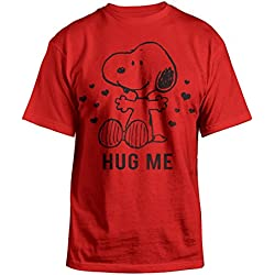 Peanuts Snoopy Valentines Day Hug Me Mens Red T-shirt L