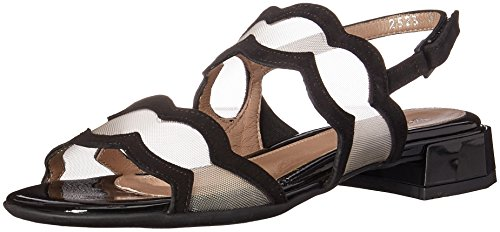 BeautiFeel Women's Glory Sandal, Black Suede/Nude mesh, 390 M EU (8 US)
