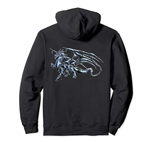 Winged Dragon Tribal Tattoo Light Blue Silhouette Image Pullover Hoodie