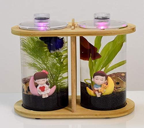 LEDライトミニ水族館、デスクトップエコロジカルボトル回転寝室の魚の水槽ミニ小型水槽竹の木の生態学的な魚のボウル水族館の装飾