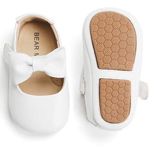 Felix & Flora Infant Toddler Baby Moccasins Soft Sole Bowknot Baby Walking Shoes Mary Jane Dress Shoes (9-12 Months Infant,White)