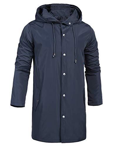 ZEGOLO Waterproof Rain Jacket for Men with Hooded Outdoor Travel Lightweight Windbreaker Shell Men's Rain Coats Long Navy Blue Large ()
