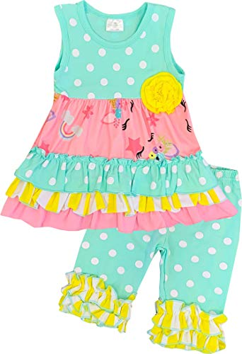 Boutique Toddler Girls Spring Easter Summer Polka Dots Unicorn Playwear Capri Set Mint 5/XL ()