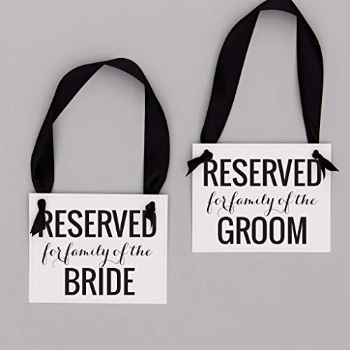(Wedding Family Reserved Signs (Set of 2) | Reserved for Family of The Bride + Groom Bridal Ceremony Reception | Signage for Aisle Row Pew Table | Black Ink & Ribbon on White Paper)