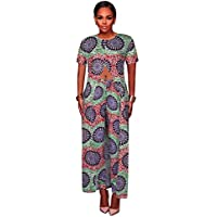 Womens 2 Piece Outfits Short Sleeve Floral Print Open Front Split Maxi Dress Tunic Tops with Long Pants Set