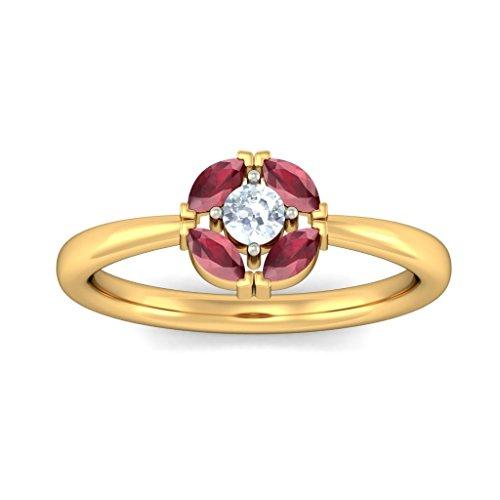 14K Or jaune, 0,12carat Diamant Blanc (IJ | SI) Rubis et diamant Bague
