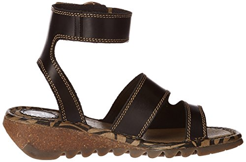 Fly London Dames Tily722fly Wedge Lederen Sandalen Zwart