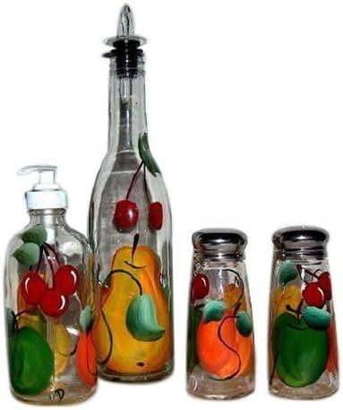 ArtisanStreet 's 4ピースハンドペイントガラス調味料入れセットwithフルーツデザインMade to Order。