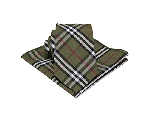 - Mens Madras Plaid Tie Set : Necktie with Matching Pocket Square -Various Colors (Olive Green)